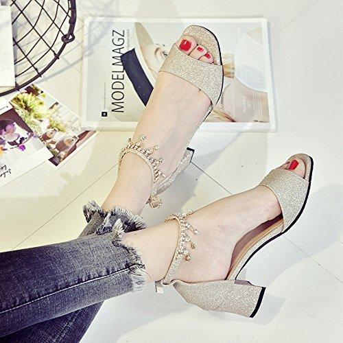 XY&GKSandales d'été Chaussures High-Heeled avec une boucle avec Hairtail Zichao Chaussures bouche grossière 37 gold