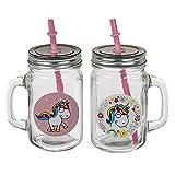 Trinkgläser mit Deckel und Strohhalm Einhorn rosa-weiß 2er-Set