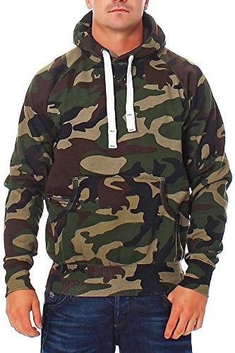 Herren Pullover Camouflage Hoodie Grün Kapuzenpullover Pulli mit Kapuze, Farbe:Grün, Größe:XXL Camouflage Pullover Kapuze