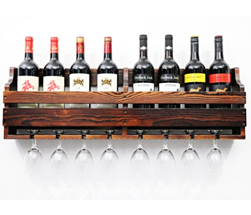 TUORUI Wine Rack, Weinglashalter, Weinregal an der Wand, Weinglas & Wein Flaschenregal, Pinienholz,...