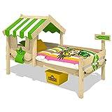 WICKEY Kinderbett CrAzY Sunny Holzbett Einzelbett 90x200 mit Dach und Lattenboden, apfelgrün