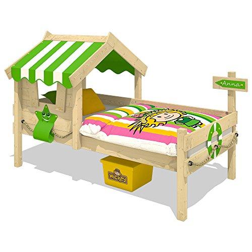 WICKEY Kinderbett CrAzY Sunny Holzbett Einzelbett 90x200 mit Dach und Lattenboden 6