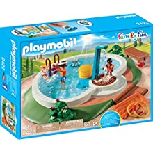 PLAYMOBIL Family Fun 9422 Swimming Pool, With pump shower, For children ages 4+