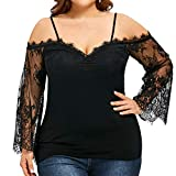 JUTOO Large Size Frauen Spitze Langarm Casual Tops Bluse(Schwarz,EU:36/CN:S)