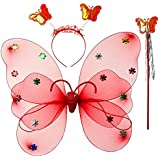 Wobbox Girls Butterfly Wings, Fairy Wings, And Angel Wings For Kids. For Garden Parties, Birthday Parties And Much More. 3 Piece Set Double Layer, Red (color May Vary)