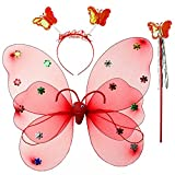 #9: Wobbox Girls Butterfly Wings, Fairy Wings, And Angel Wings For Kids. For Garden Parties, Birthday parties and much more. 3 piece set double layer, Red (color may vary)
