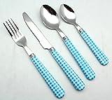 EXZACT Color Edelstahl-Besteck Set 24 Stück - 6 x Tafelgabeln, 6 x Tafelmesser, 6 x Abendessen Löffel, 6 x Teelöffel (Blau)