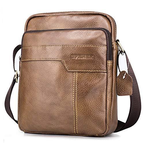 Spaher uomo borsa a spalla mano uomini in pelle cuoio borsa di affari del messaggero organizer portatutto della zaino crossbody casual tote bag sling viaggio borsa tracolla grande marrone