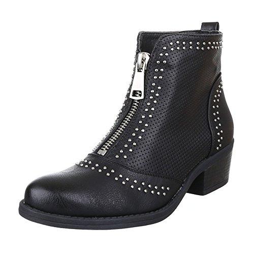 B8110 PERFORIERTE Damen Design Schuhe STIEFELETTEN Schwarz BOOTS Ital tOCgqnFwHx