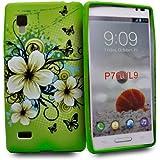Accessory Master Etui en silicone pour LG Optimus L9 P760 Vert fleurs fancy conception