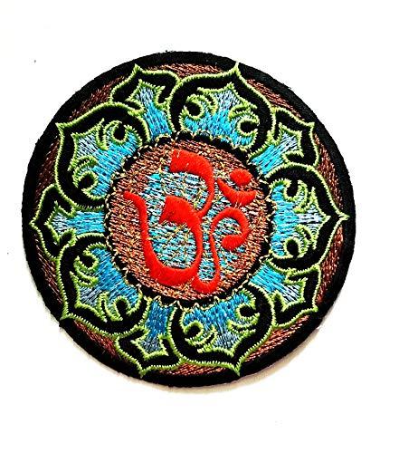 Buddha Blue Lotus Lucky Aum Om Ohm Hindu Yoga Indisches Logo Hippie Retro Patch Weste Jacke Biker Biker Biker Tattoo Jacke T-Shirt Aufnäher Aufbügler Aufbügler Aufbügler - Logo Bestickte Jeans Shirts