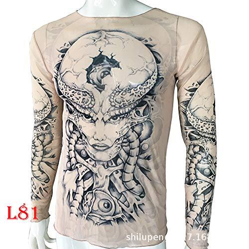 Spawn Kostüm - tzxdbh Tattoo Tattoo Langarm T-Shirt Damen Fan Digitaldruck Boden Shirt Musik Festival Kostüm L81 怪兽 170CM-182CM 60KG-110KG