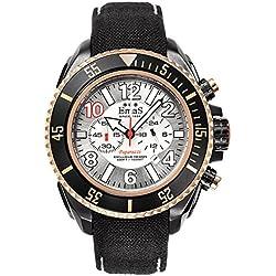 "Emas ""Paparazzi"" Stainless Steel IP Black Swiss Tech Quartz Cronograph Date White Silver Gold Cordura Men's Watch"