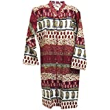 Mogul Interior Womens Bohemian Tunic Cotton Brown Hand Printed Indian Peasant Dress
