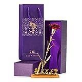 NEEGO 24K Rose Artificiales Flores 24K Rose Atrificial Flowers Chapado en Oro Rosa Flor con Caja de Regalo