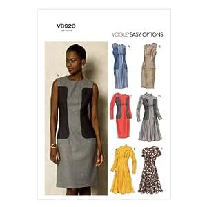 Vogue Patterns V8923 Taille A5 6/8/10/12/14 Patron de robe de Petite taille pour femme Blanc