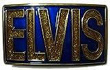 ELVIS RECTANGLE (BLU/ORO LUCCICHIO) Fibbia per Cintura + espositore