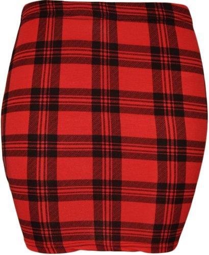 Da donna stampa stretch Bodycon elasticizzato jersey breve mini gonna–8–14 Red Tartan