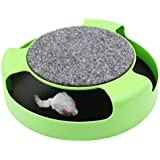 Juguetes para Gato - Badalink Mesa de rotación con un ratón de formación interactiva Verde 26 * 6.5cm