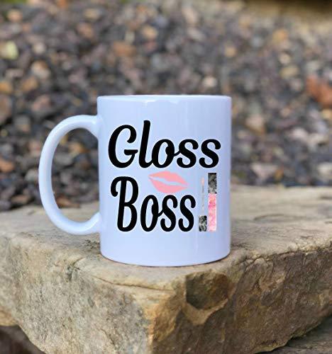 DKISEE Gloss Boss Coffee Coffee Mug Lip Gloss Coffee Mug Make Up Coffee Coffee Mug Funny Makeup Coffee Mug Gifts For Her Funny Coffee Mug Makeup Coffee Mug Make Up Artist Gift 11oz -