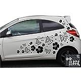 kleb-drauf® - 19 Hibiskusblüten, 19 Schmetterlinge und 42 Punkte / Schwarz - glänzend - Aufkleber zur Dekoration von Autos, Motorrädern und allen anderen glatten Oberflächen im Außenbereich; aus 19 Farben wählbar; in matt oder glänzend