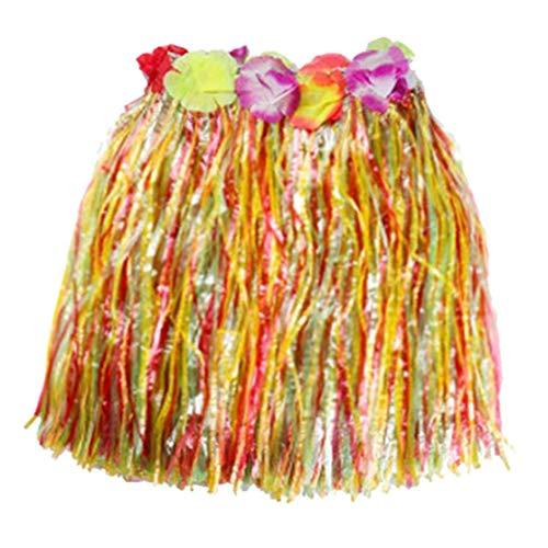 AMOYER 1pc Multicolor Kunststoff-Fasern Frauen Grass Skirts Hula Rock Hawaiian Kostüme Kinder Verkleiden Festliche & Party Supplies (Bunte, - Grass Skirt Kostüm