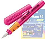 Pelikan - Pelikano Junior Füllhalter P67, Feder: A, Schaftfarbe: [ pink ] + 10 Großraum-Tintenpatronen GTP