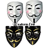 WESTERN ERA Plastic Fawkes Mask Anonymous VIP Edition Face-Mask Perfect Fit Cosplay Protest V For Vendetta DC Comics (Black & White Pack Of 4)
