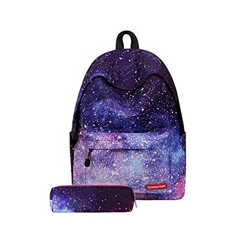 e76ca940e4fa1 Homeng Women Canvas Capacity Durable School Bag Fashion Galaxy Star Cosmic  Space Girls School Backpack Purple