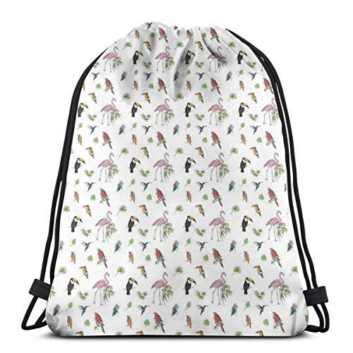 LLiopn Drawstring Sack Backpacks Bags,Colorful Tropical Animals Flamingo Cockatoo Hummingbird Parrot and Toucan Pattern,Adjustable.,5 Liter Capacity,Adjustable. -