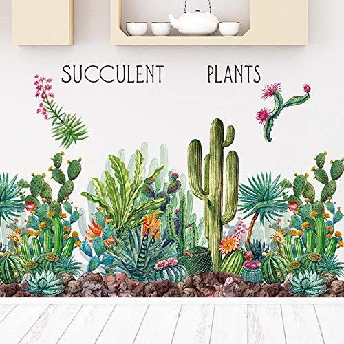 Woodland Weißen Schreibtisch (Wandtattoos & Wandbilder Green Cactus Wandtattoos Woodland Tribal Cactus Wandaufkleber für Küche Wohnzimmer Dekor Kunst Sukkulente Wandtattoo 90x80cm)