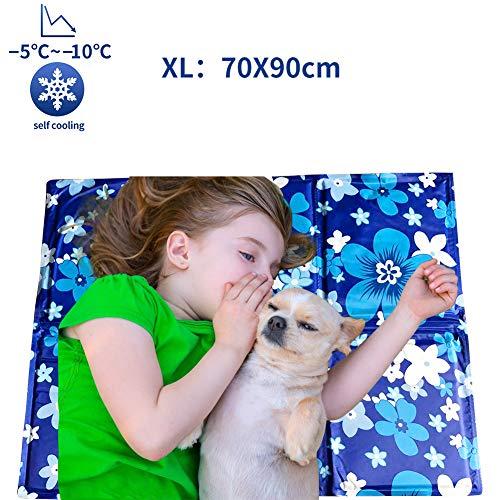 Mingzheng Kühlmatte für Hunde Kühldecke Ungiftig Gel Matte, Druck aktiviert selbstkühlende Decke für Welpe innen&draußen im heißen Sommmer Blau XL(70 * 90 cm)