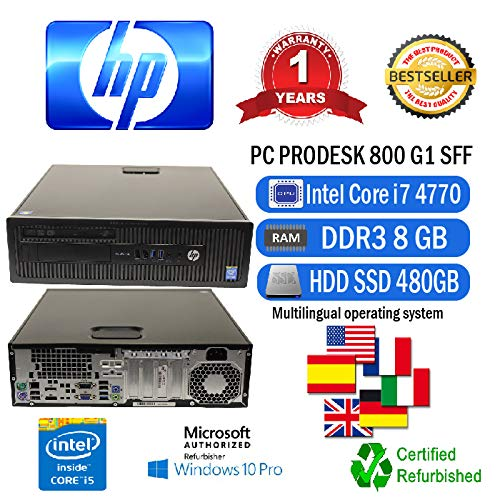 PC DESKTOP RICONDIZIONATO HP ELITEDESK 800 G1 SFF INTEL CORE I7 4770/8GB/SSD 480GB/DVD/WINDOWS 10 PRO MAR