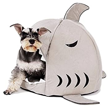 Ducomi® Shark - Panier en Forme de Requin Corbeille Niche Coussin Matelas Lit Chien Chat Animaux Chien Chat (M, Grey)