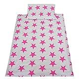 TupTam Kinder Bettwäsche Set 100x135 Baumwolle Gemustert, Farbe: Grau Große Rosa Sterne, Größe: 135x100 cm