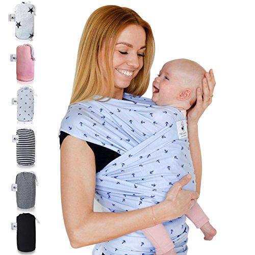 Fastique Kids® Babytragetuch - elastisches Tragetuch für Früh- und Neugeborene Kleinkinder - inkl. Baby Wrap Carrier Anleitung - Nordlicht