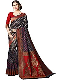 Soru Fashion Women's Pure Banarasi Silk Dark Blue & Red Jacquard Kanjivaram Partywear Saree/Wedding Saree/Casual...