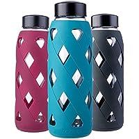 MIU COLOR–Botella de agua de cristal de 790ml Botella con funda de silicona sin BPA Botella de cristal para la oficina, senderismo, deporte, yoga, verde oscuro