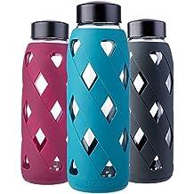 MIU COLOR – Botella de agua de cristal de 790 ml Botella con funda de silicona