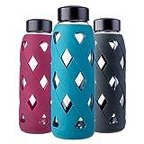 MIU COLOR 790ml Glas-Wasserflasche Trinkflasche mit Silikonhülle BPA-Frei Glasflashe für Büro, Wandern, Sport, Yoga (Dunkelgrün)