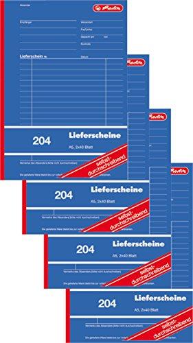Herlitz 1932839 Lieferschein-Buch A5 204 2x40 Blatt, selbstdurchschreibend (4 Stück)