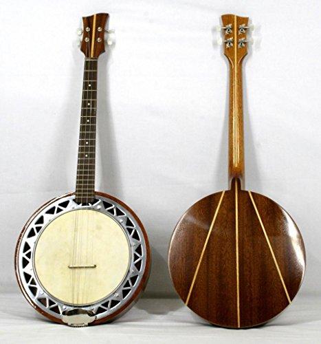 Musikalia Banjo Tenor Linkshänder, mit Korpus aus Aluminium, Boden aus Mahagoni mit Intarsien aus Ahorn, klassischer