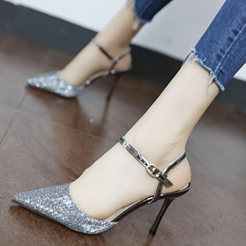 GaoXiao i sandali con tacco alto, una parola di tacco,argentoeo | Prestazioni Affidabili  | Uomo/Donna Scarpa