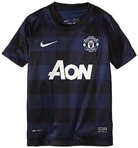 2013-14 Man Utd Away Nike Football Shirt (Kids) blue Midnight Navy/Black/Football White Size:XS
