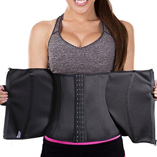 Bafully Bingrong Damen Taillenformer Unterbrust Korsett Taillenmieder zum Gewichtsverlust Firgur Body Shaper mit 3 Reihen Haken & Reißverschluss (Schwarz, M)