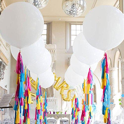 Lumanuby 4X Reine Farbe Hochzeit Ballon aus Latex 36 Zoll Helium Luftballon Rund für Party/Verlobung/Hochzeit, Ballon Serie (Weiß)