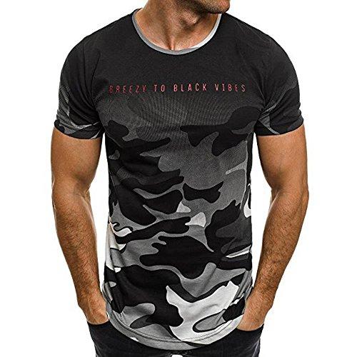 2018 Mode Camouflage T-Shirt Herren, DoraMe Männer Schlank Briefe Drucken Bluse Kurze Ärmel Sportlich Hemd Slim Fit Casual Persönlichkeit Tarnung Pullover (Grau, Asien Größe L)