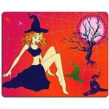 MSD Gaming tapis de souris en caoutchouc naturel d'image: 32883701élégant Halloween fille avec les yeux verts Sinistre Cobwebs et araignées au clair de lune nuit la main dessin Vector Illustration