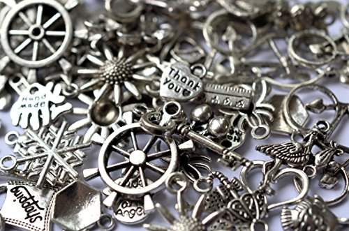 40g Mixed Charms & Pendants-30g Antique Silver Colour{20-40pcs} & 10g Antique Copper Colour{10-15pcs}