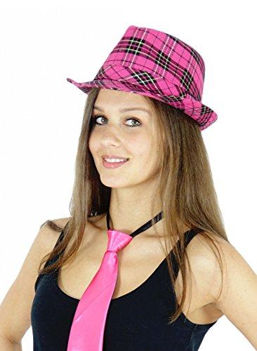 ter Hut kariert pink Mafia (Lila Gangster Kostüm)